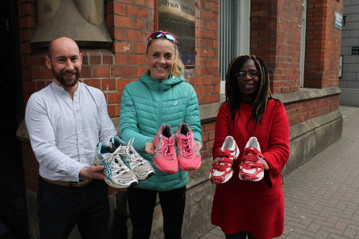 Bryson reuse running shoes donated by Kerry O Flaherty Irish Olympian
